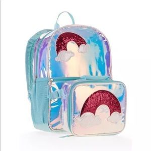 Other - SALE Rainbow iridescent backpack w/ lunch bag box